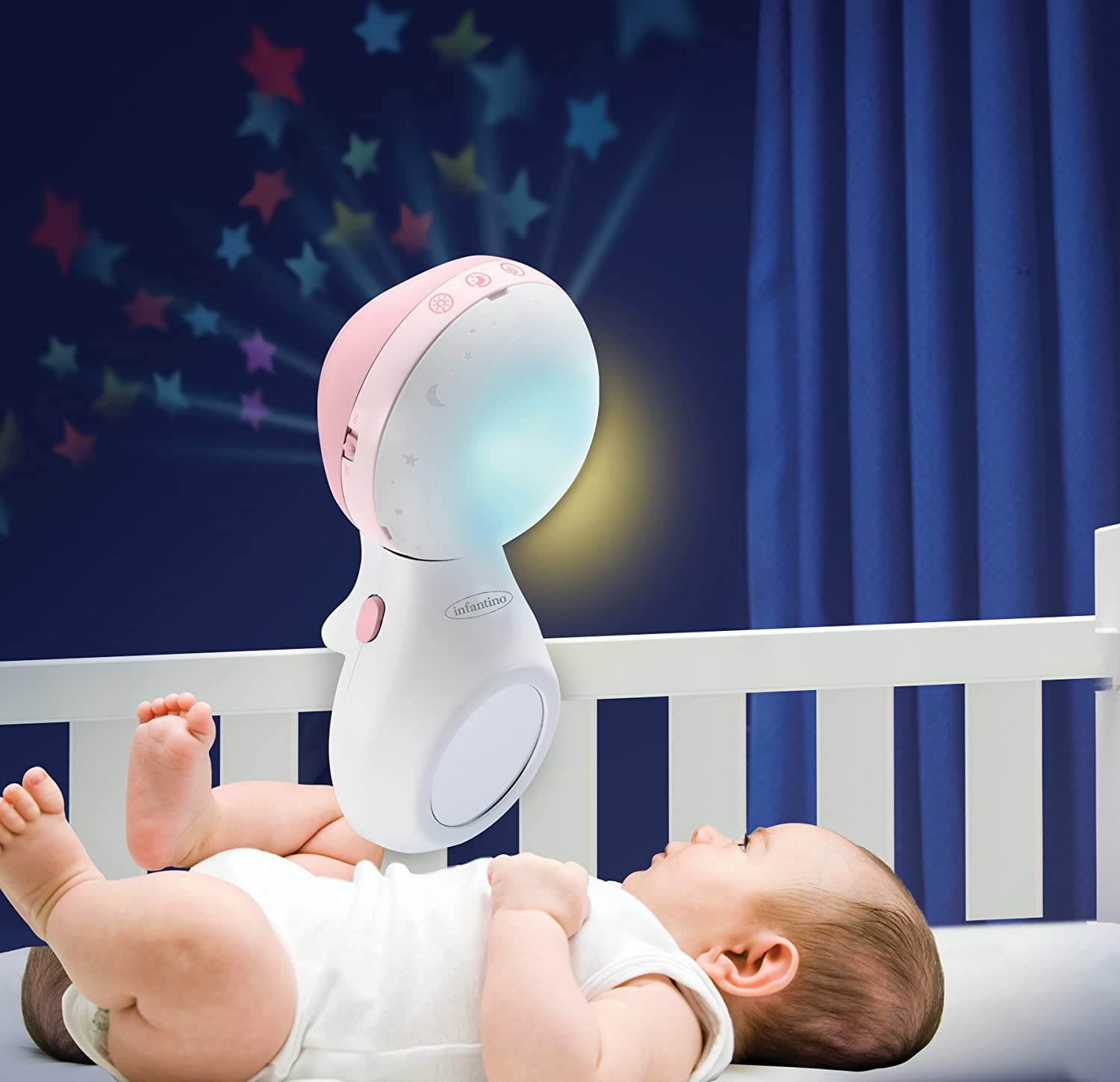 wake up mode simulates daylight cot /& table top night light Grey Infantino 3 in 1 Projector musical mobile