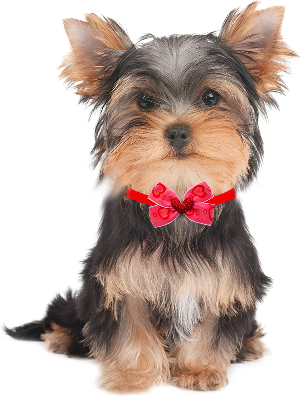JpGdn 20pcs//10pairs Valentines Day Small Dogs Bowties Puppy Neckties with Beads Bow Ties for Puppy Doggy Cat Rabbit Medium Pet Adjustable Neckties Bowtie Collar Grooming Accessories Costume