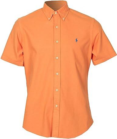 Camisa entallada manga corta Ralph Lauren Rugby para hombre (naranja): Amazon.es: Ropa y accesorios