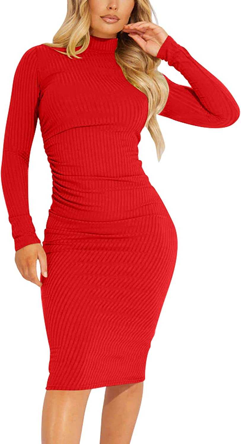 Kaximil Women's Ribbed Basic Casual Mide Dress Long Sleeve Bodycon Ruched Club Dresses
