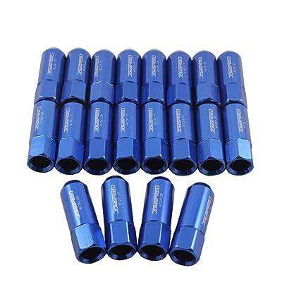 JDMSPEED Blue 60MM Aluminum Extended Tuner Lug Nuts for Wheel Rims M12X1.25 20PCS: Automotive