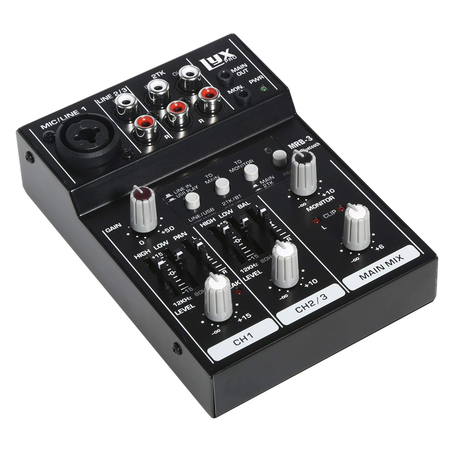LyxPro MRB3 3-Channel Audio Mixer - Flexible, Compact Personal Pro Audio Mixer with USB & Bluetooth Connections (Renewed)