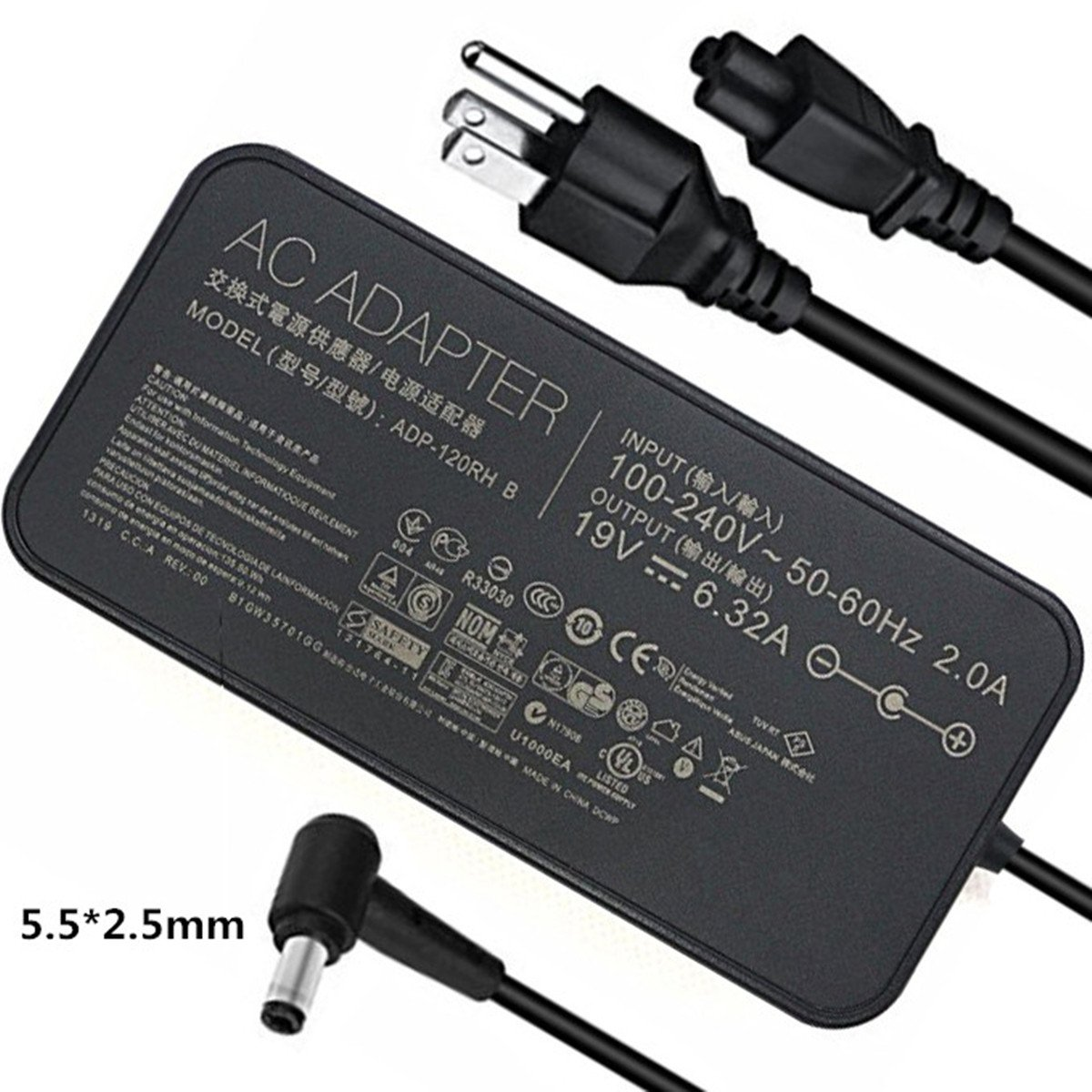 amazon com 120w 19v 6 32a laptop charger for asus rog gl502vt rh amazon com
