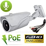 USG 2.2MP 1080P IP PoE Bullet Security Camera with Audio: 2.8-12mm Varifocal Lens + Audio-In+Out + 42x IR LEDs For 130 Feet Night Vision + IR-Cut + ONVIF + WDR + IP66 NEMA 4x Outdoor Rated