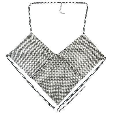 2d1f81f0960075 Baoblaze Sexy Bralette Body Chain Statement Geomwtric Triangle Beach Bra  Jewelry - Black