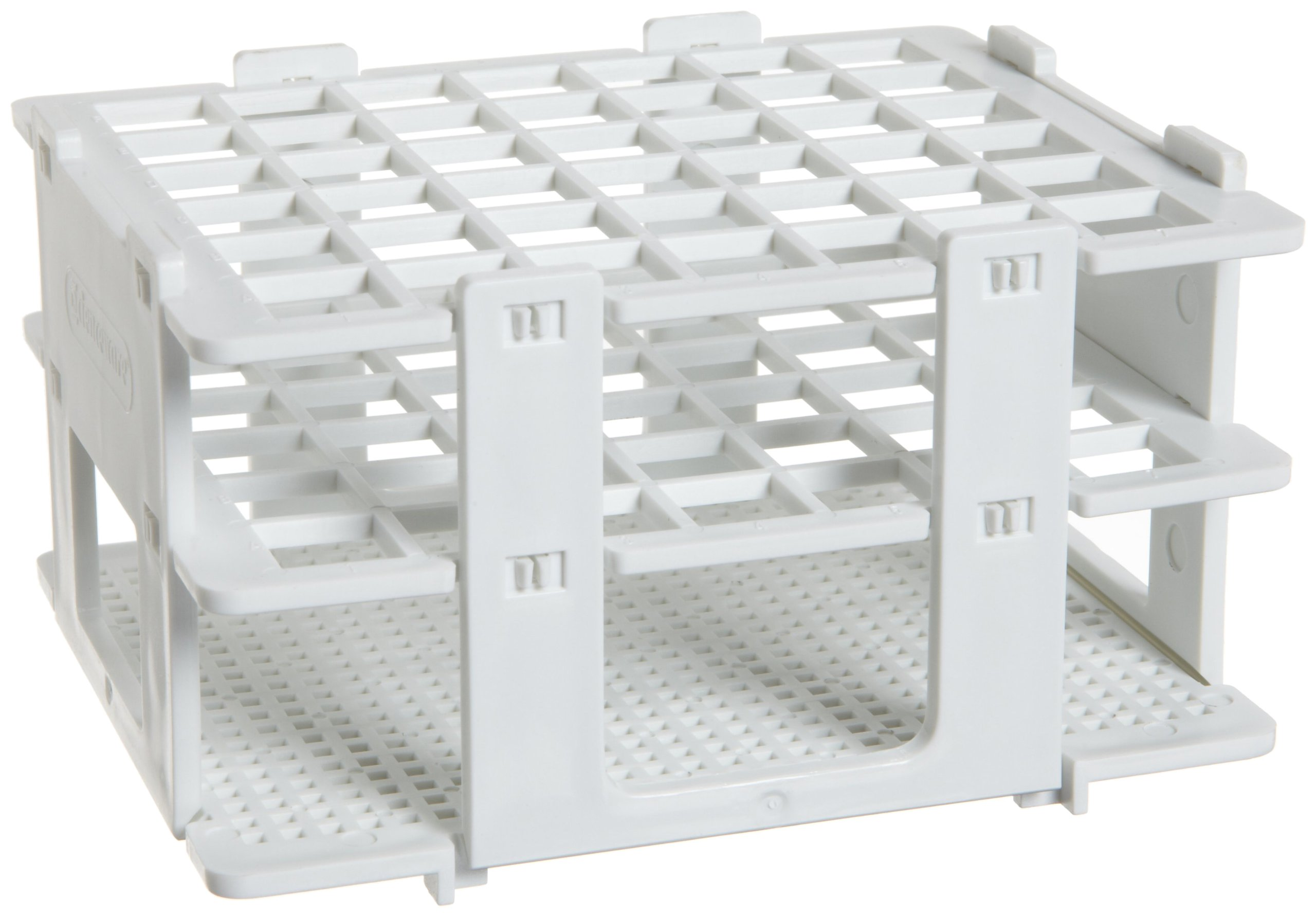 Bel-Art F18748-0013 No-Wire Test Tube Half Rack; 10-13mm, 42 Places, 5.1 x 4.1 x 2.8 in., Polypropylene by SP Scienceware
