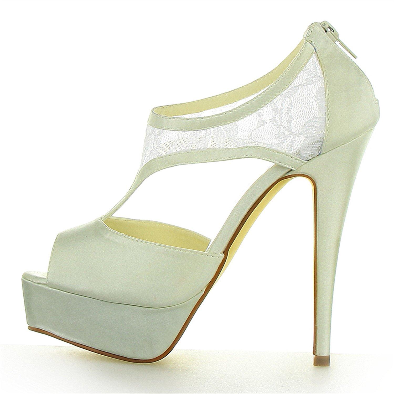 JIAJIA JIA JIA JIA JIA Zapatos de Novia de Las Mujeres 20131 Peep Toe estilete Tacón Cordón Satín Plataforma Zapatillas Zapatos de Boda 757814