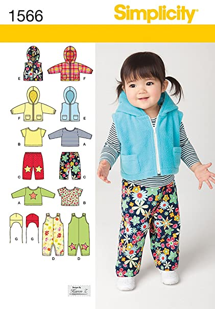 Amazon Simplicity 1566 Babies Overall Jacket Or Vest Pants