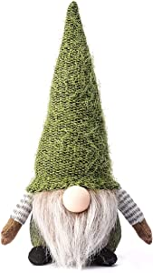Funoasis Christmas Gnome Gifts Holiday Decoration Kids Birthday Present Handmade Tomte Plush Doll, Home Ornaments Tabletop Santa Figurines 14 Inches (Green)