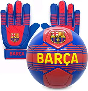 FCB FC Barcelona - Juego Oficial de Guantes de Portero y balón - para niños - con el Escudo del Club: Amazon.es: Deportes y aire libre
