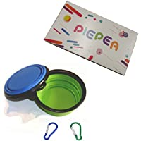 Piepea Collapsible Dog Bowl, 2 Pack Travel Bowl, Made of Food-Grade Silicone, BPA-Free and FDA Approved, Portable Foldable Dog Cat Food Water Feeding Bowl, Two Free Carabiners