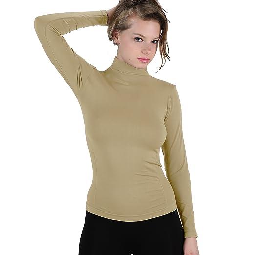 d424f3cf813b05 Soft Long Sleeve Polo Mock Turtleneck T-Shirt Stretch Top XS-L (Beige