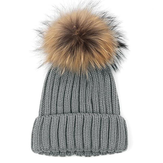 e1f14931e5e406 Amlaiworld Strickmützen, Damen Knit Beanie Mütze Ski Ball Cap Baggy Winter  Warm Hut (Dunkelgrau): Amazon.de: Bekleidung