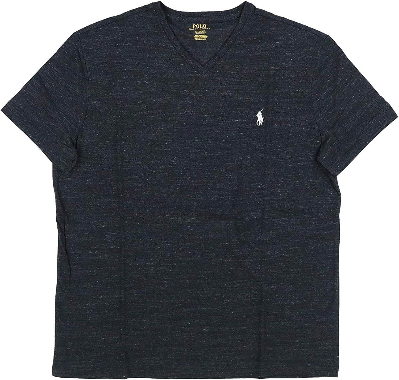 Polo Ralph Lauren Mens Big and Tall T-Shirt Jersey V-Neck T-Shirt, LT, Black Heather