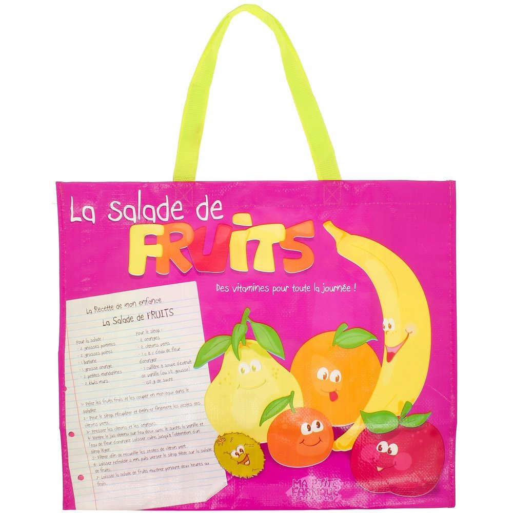 Promobo Sac de Courses Cabas Pour shopping Picto Recette Salade Fruits fruCabSac