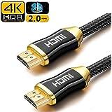 HDMI ケーブル 4K 亜鉛ダイキャストヘッド 2m 高耐久性 HDR ARC対応 Tatuer HDMI2.0 3D対応 金メッキ メッシュケーブル HDMIコネクター PS4 pro / PS4 / PS3 /3D/1080p/Apple TV/XBoxなど対応 (金)