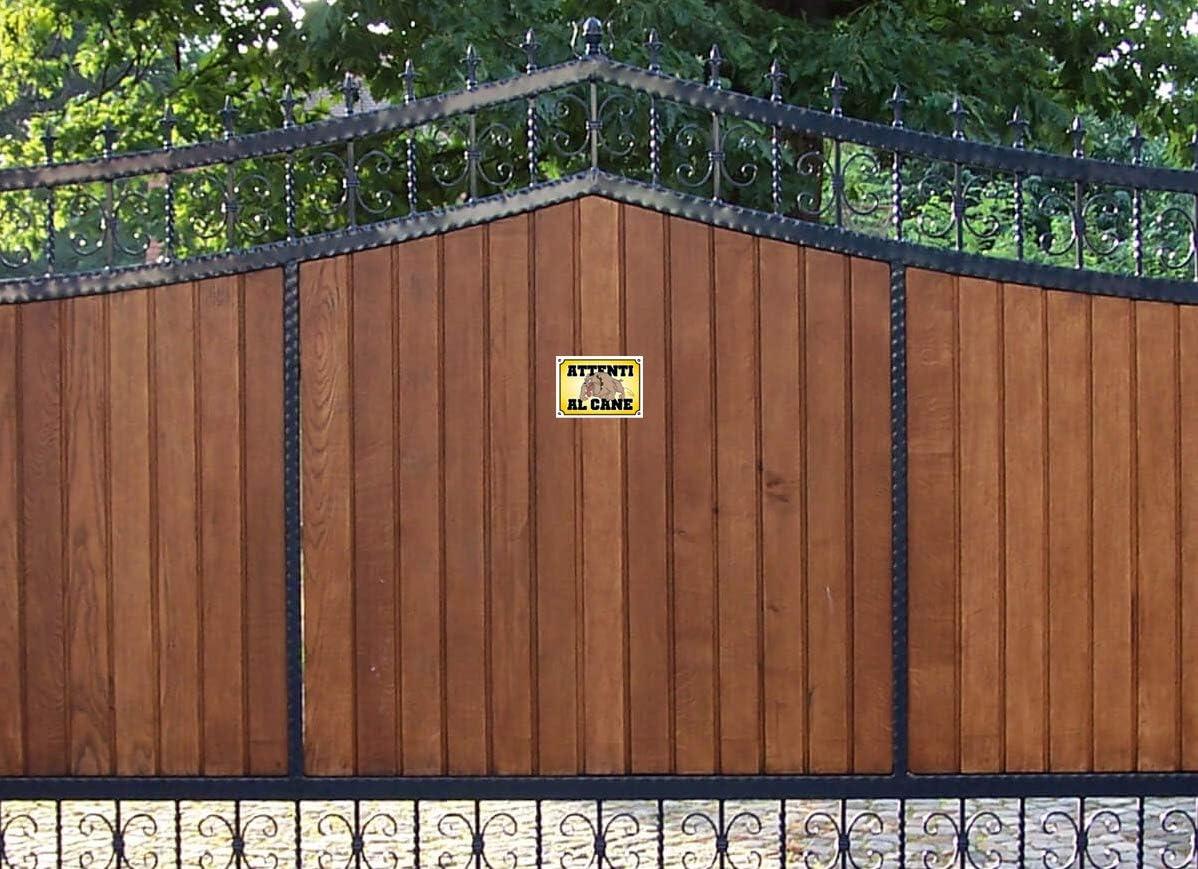 cancello Divertenti Readyprint 2 Adesivi Attenti al Cane Cartello avviso Attenti al Cane, 15 x 10 cm ironici Villa condominio.