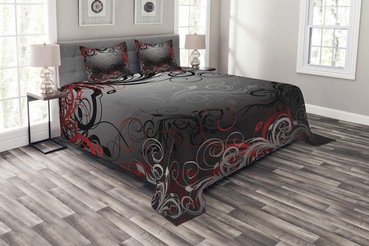 Lunarable Abstract Bedspread, Mystic Forest Floral Swirls Leaves Nature Fading Ombre Effect, Decorative Quilted 3 Piece Coverlet Set with 2 Pillow Shams, Queen Size, Charcoal Grey