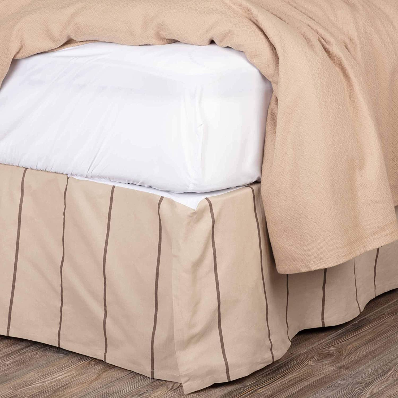 VHC Brands Charlotte Skirt Cotton/Linen Blend Tailored Striped Modern Farmhouse Dust Ruffle Bedding Accessory, King 78x80x16, Slate