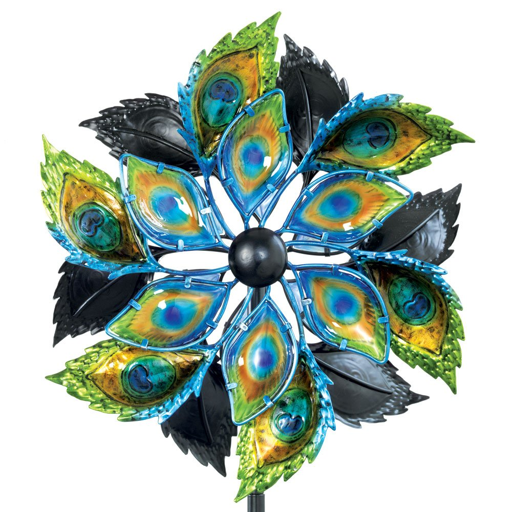 Bits and Pieces - Peacock Feather Wind Spinner - 14 Inch Decorative Kinetic Wind Mill - Unique Outdoor Windspinner Lawn and Garden Décor, Lawn Ornament