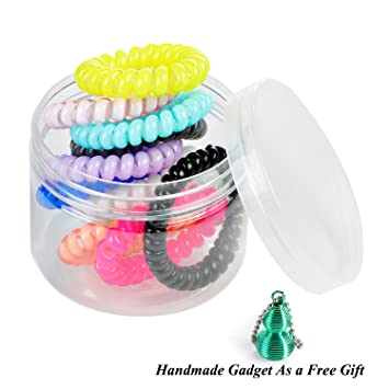Amazon.com   LucyGod 10PCS New Design Spiral Coil Elastic Hair Ties No  Crease No Damage Ponytail Holders Rubber Bands 9a534d4df7d