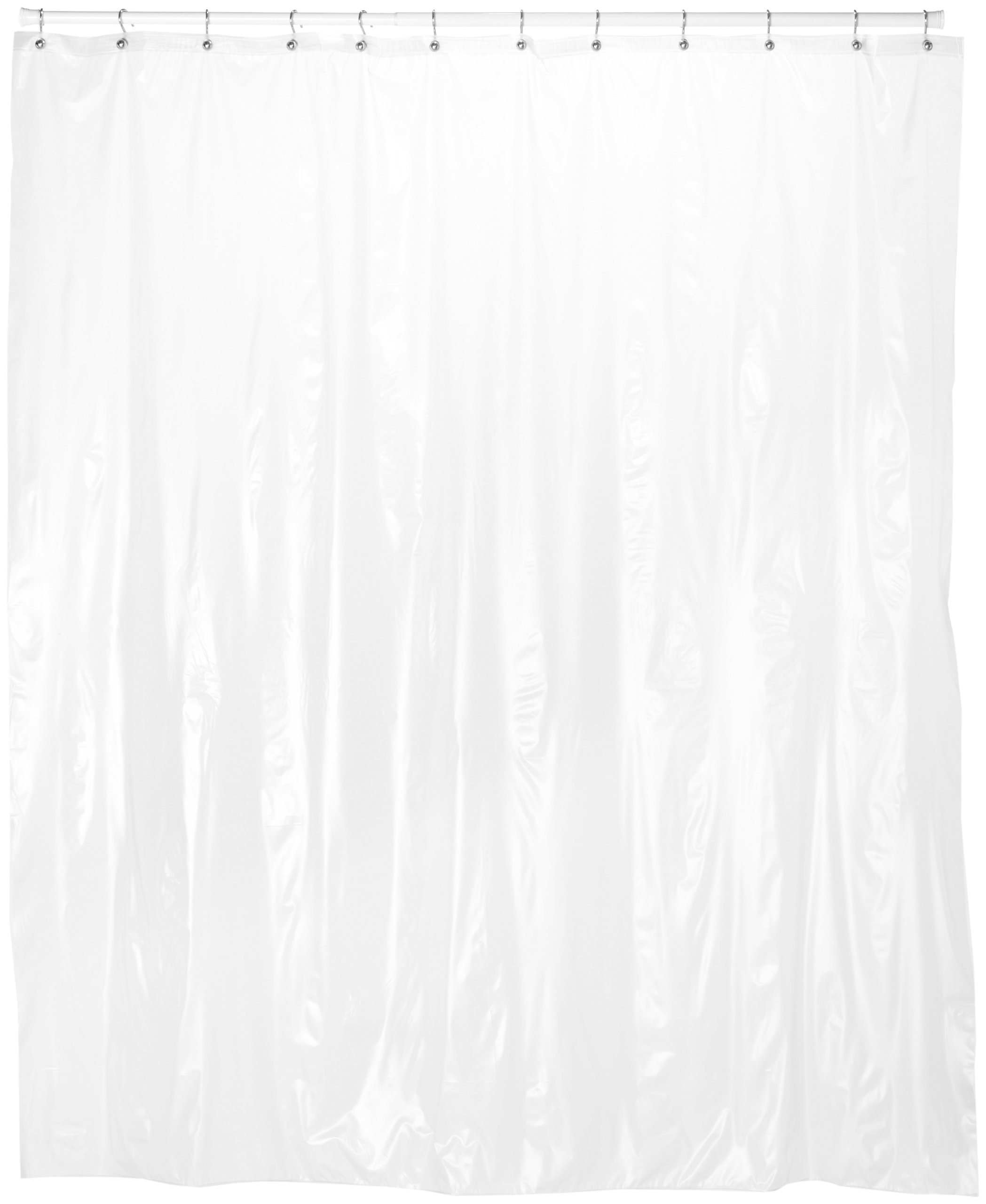 Carnation Home Fashions 72-Inch Wide by 78-Inch Long Vinyl Shower Curtain Liner, Frost Clear