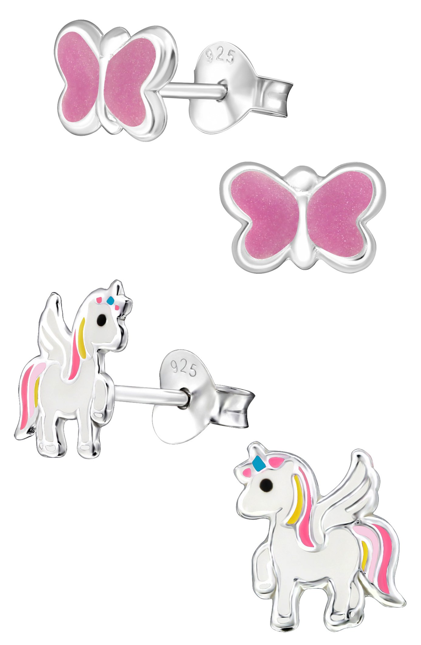 Best Wing Jewelry .925 Sterling Silver''Unicorn and Butterfly'' Set Stud Earrings for Children and Teens (2 Pairs)