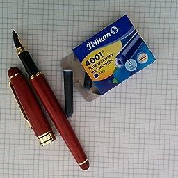 MaleDen - Pluma estilográfica, hecha mano, madera de palisandro, estilo vintage, con relleno de tinta, punta media, estuche de piel sintética: Amazon.es: Oficina y papelería