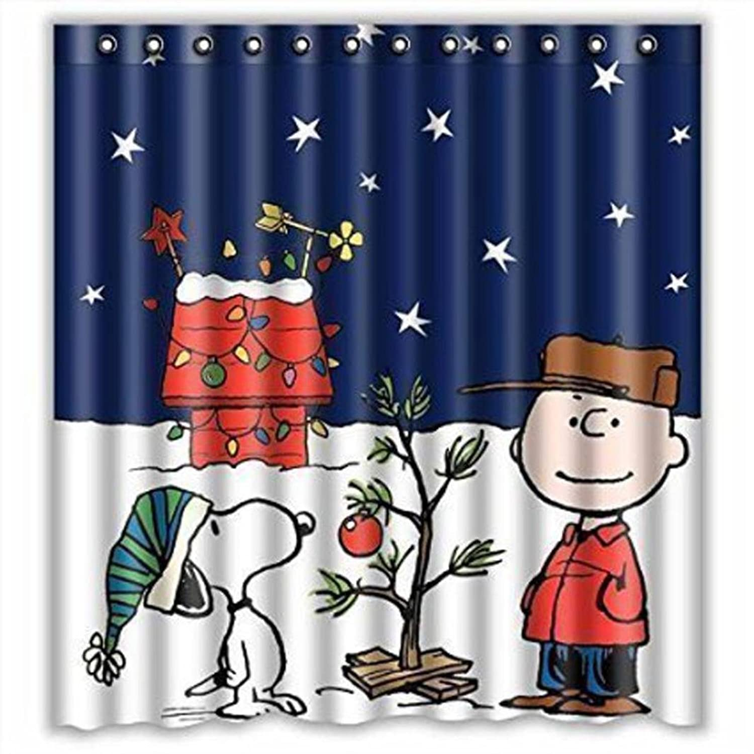PHOTNO Custom Merry Christmas Fabric Waterproof Bathroom Shower Curtain 66 x 72