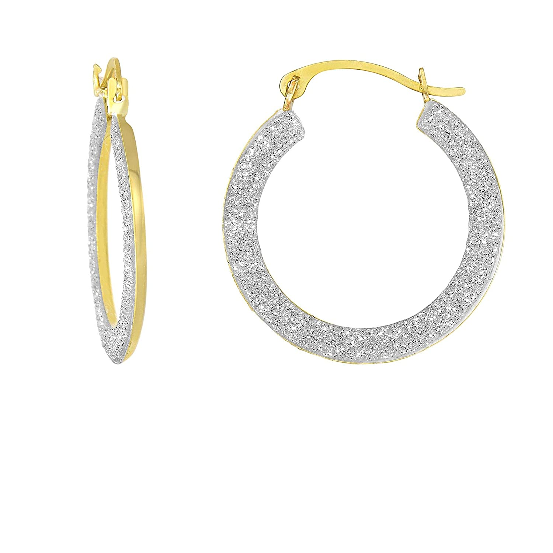 10K Yellow Gold 1.5x15mm Side 1 Domed Side 2 White Glitter Half Shell Round Hoop Earrings by IcedTime