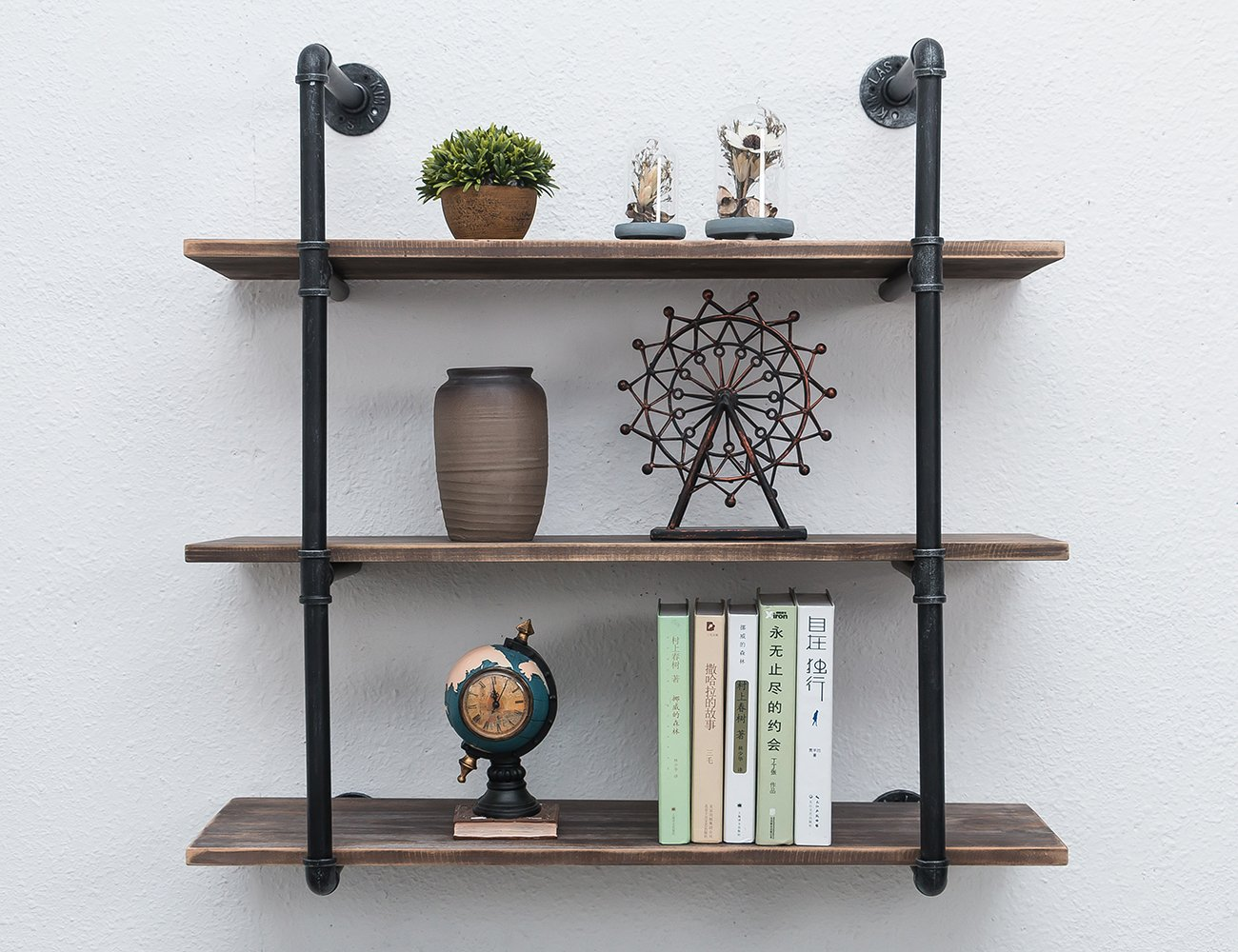 MBQQ Industrial Iron Pipe Shelf DIY with Wood 36.2in Retro Storage Book Shelves Wall Mounted Shelving Hung Bracket 3-Shelf Organizer 4