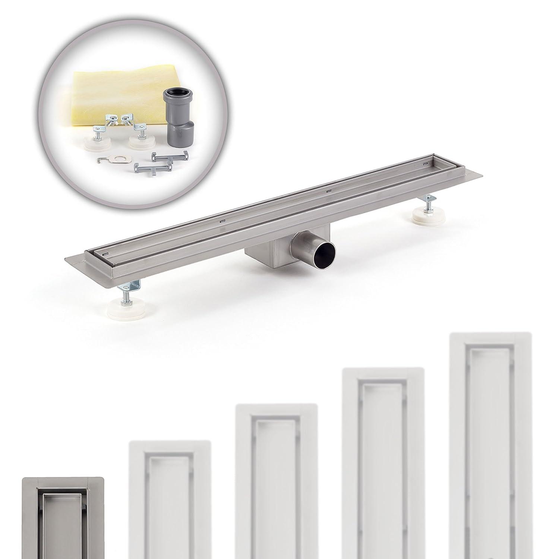 GAJO Caniveau de douche /écoulement inclus Siphon Acier inoxydable /à Carreler Dimension 900x70 mm