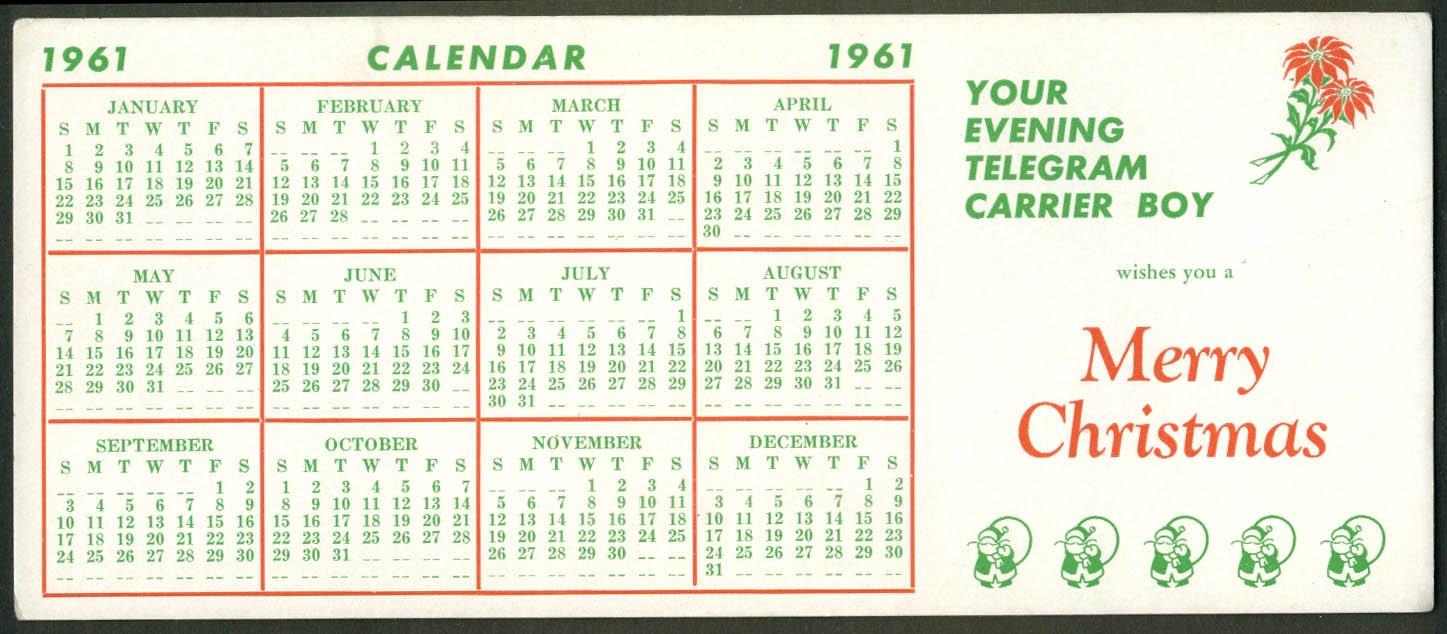 Syracuse Calendar.Syracuse Evening Telegram Paperboy Carrier Calendar Blotter 1961 At