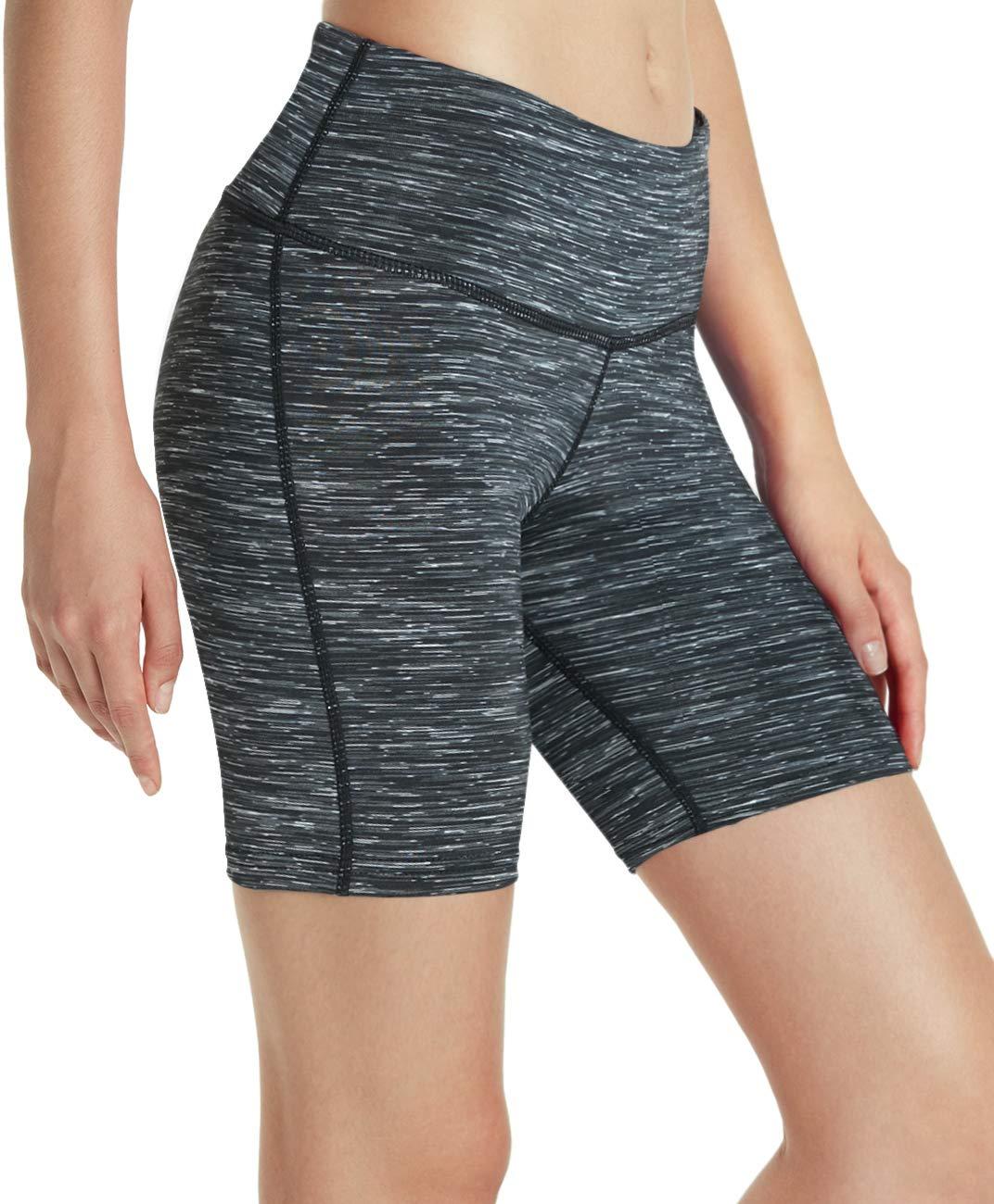 TSLA Womens High Waisted Bike Shorts Workout Running Yoga Shorts with Pocket Athletic Stretch Exercise Shorts