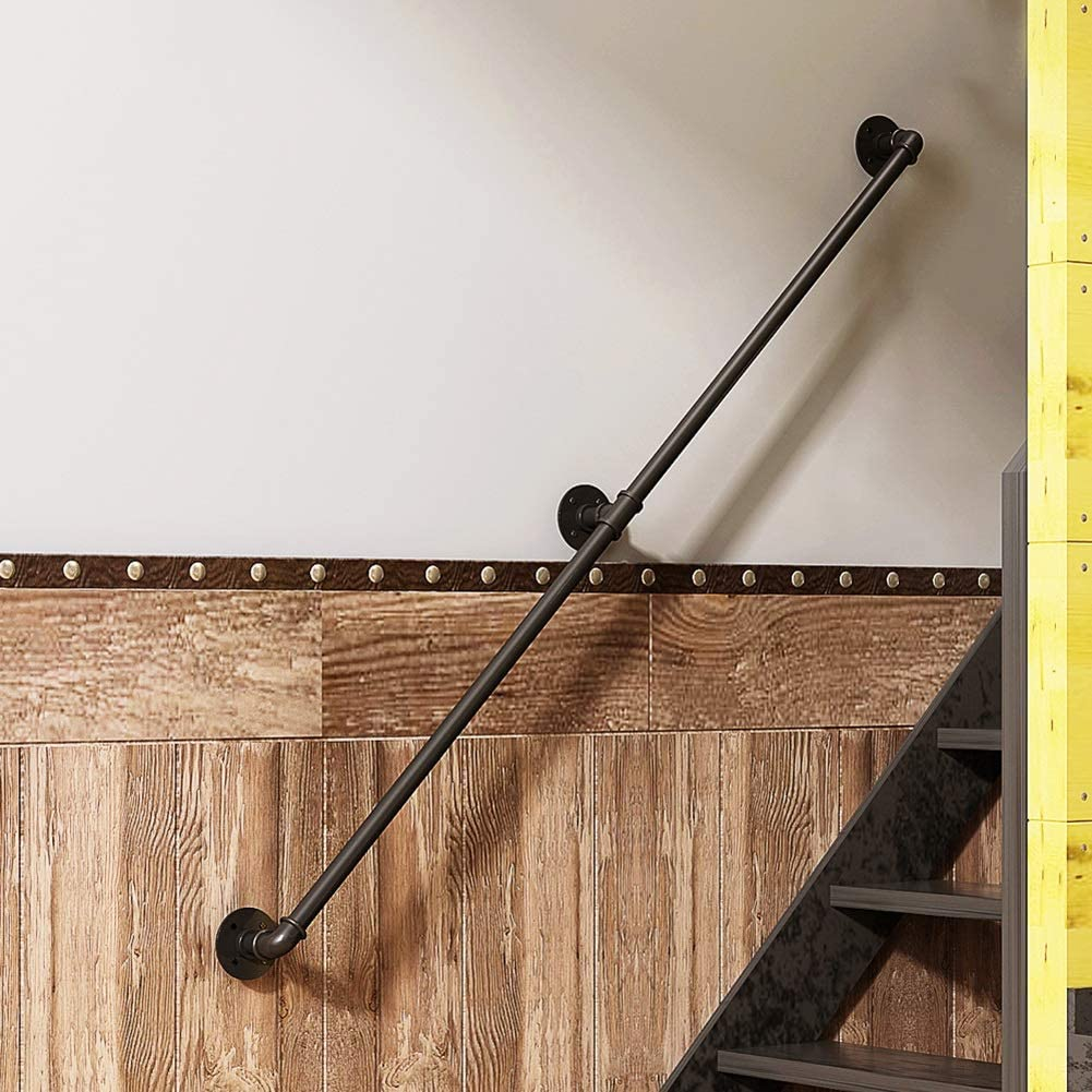 Barandillas for escaleras interiores, Barandilla antideslizante for escaleras de tubo de hierro forjado negro mate industrial antiguo, Barra de soporte de barandilla montada en la pared de seguridad i