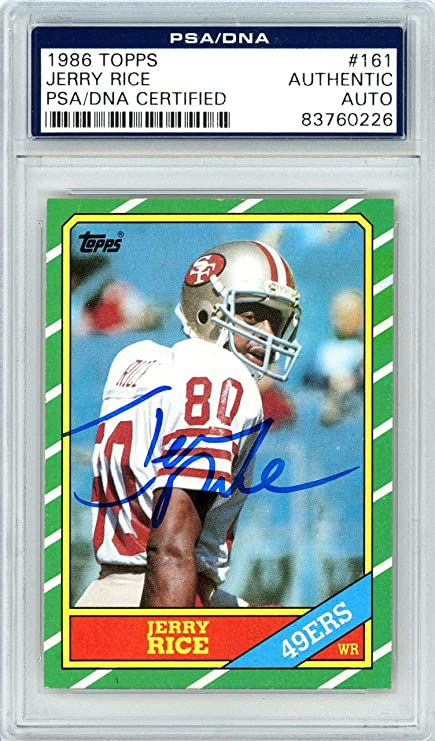 Jerry Rice Autographed 1986 Topps Rookie Card 161 San Francisco