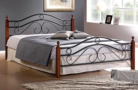Queen Metal Bed Frame W/ Wood Posts And Mattress Support (Queen)