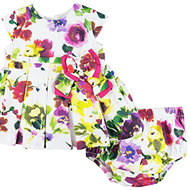 9567507ecadef Baby Girls Capped Sleeved Cotton Dress and Pants Set in Floral Print (0-3  Months)  Amazon.co.uk  Clothing