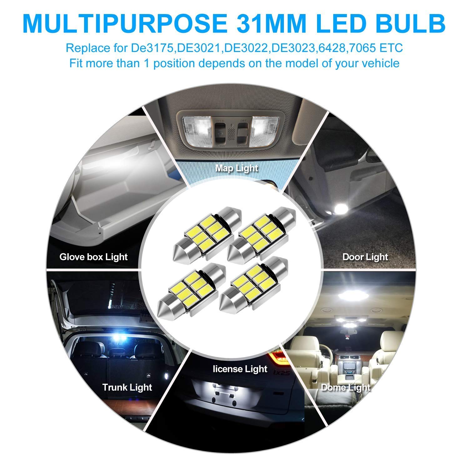 SUMOZO Festoon C5W Led Bulbs 36mm Canbus Error Free 6000K White Light 6-SMD 5730 for Car Interior Dome License Plate Door Lights Pack of 4 36mm
