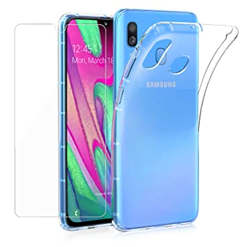 Annhao Funda Samsung Galaxy A40 + Protectores de Pantalla, Carcasa Silicona Transparente Protector TPU Airbag Anti-Choque Ultra-Delgado Anti-arañazos ...