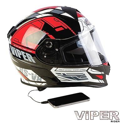 moto casque Viper RSV8 stéréo PRIME intégral rouge noir ECE ACU approuvé tournée casque (S)
