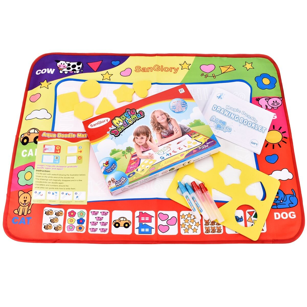 SanGlory Water Doodle Mat Magic Water Drawing Painting Pad With 4 Water Pen & 6 Stamps & a Doodle Water Book - Best Handwriting Gifts for Boys & Girls Age 2 3 4 5 6+ Years Old (Gift Box package)