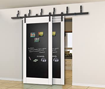DIYHD 8ft Bypass Sliding Barn Door Hardware Double Sliding Door Black  Rustic Sliding Track Kit