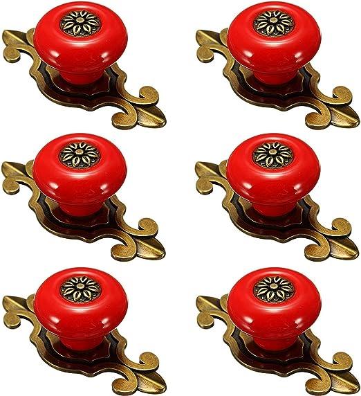 Creatwls 6PCS Style vintage Poign/ée-bouton en porcelaine Poign/ée Armoire Meubles Dresser poign/ées de meubles tiroir poign/ées boutons de meubles
