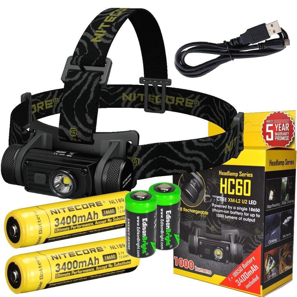 EdisonBright Bundle: Nitecore HC60 1000 Lumens CREE XM-L2 U2 LED headlamp with Two Genuine Nitecore NL189 18650 3400mAh Li-ion Rechargeable Batteries and Two CR123A Lithium Batteries
