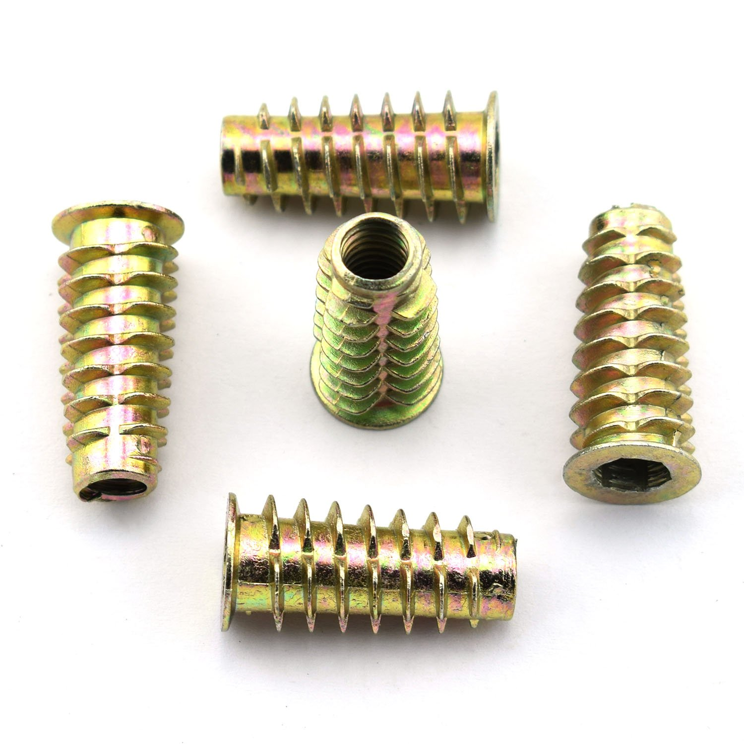 LQ Industrial 30pcs 25mm Furniture Screw-in Nut Zinc Alloy Bolt Fastener Connector Hex Socket Drive Threaded Insert Nuts For Wood Furniture Assortment 1/4''-20 by LQ Industrial