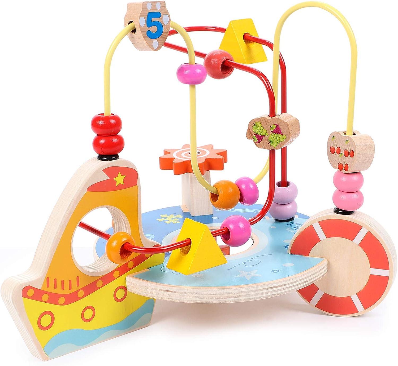 Lewo Bead Maze Wooden Baby Toddler Toys Roller Coaster Preschool Educational Circle Toys for Babies Kids Boys Girls