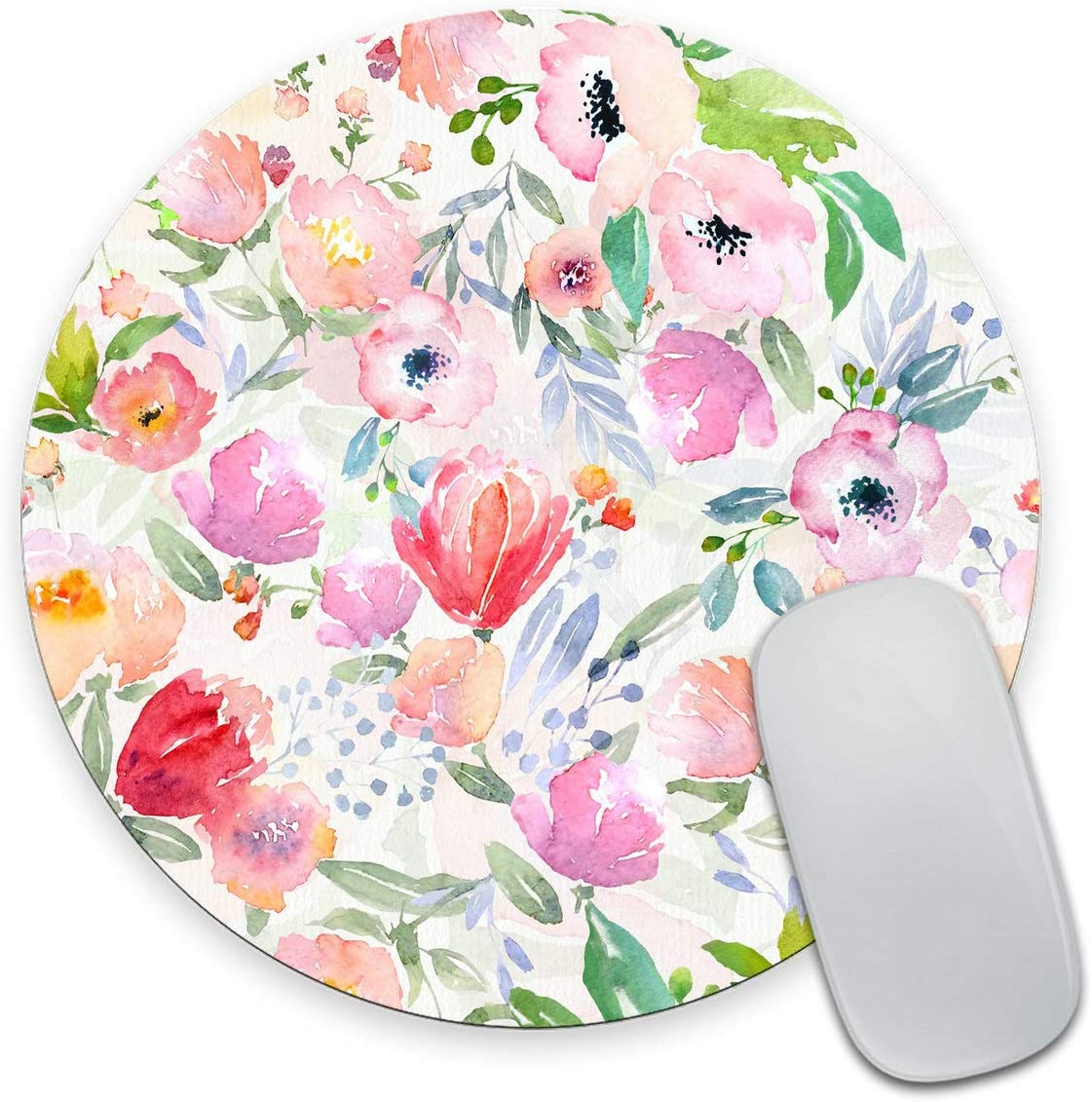 Smooffly Watercolor Flowers Print Round Mouse Pad Custom Design, Colorful Vintage Floral Mousepad Non-Slip Rubber Circular Mouse Pads