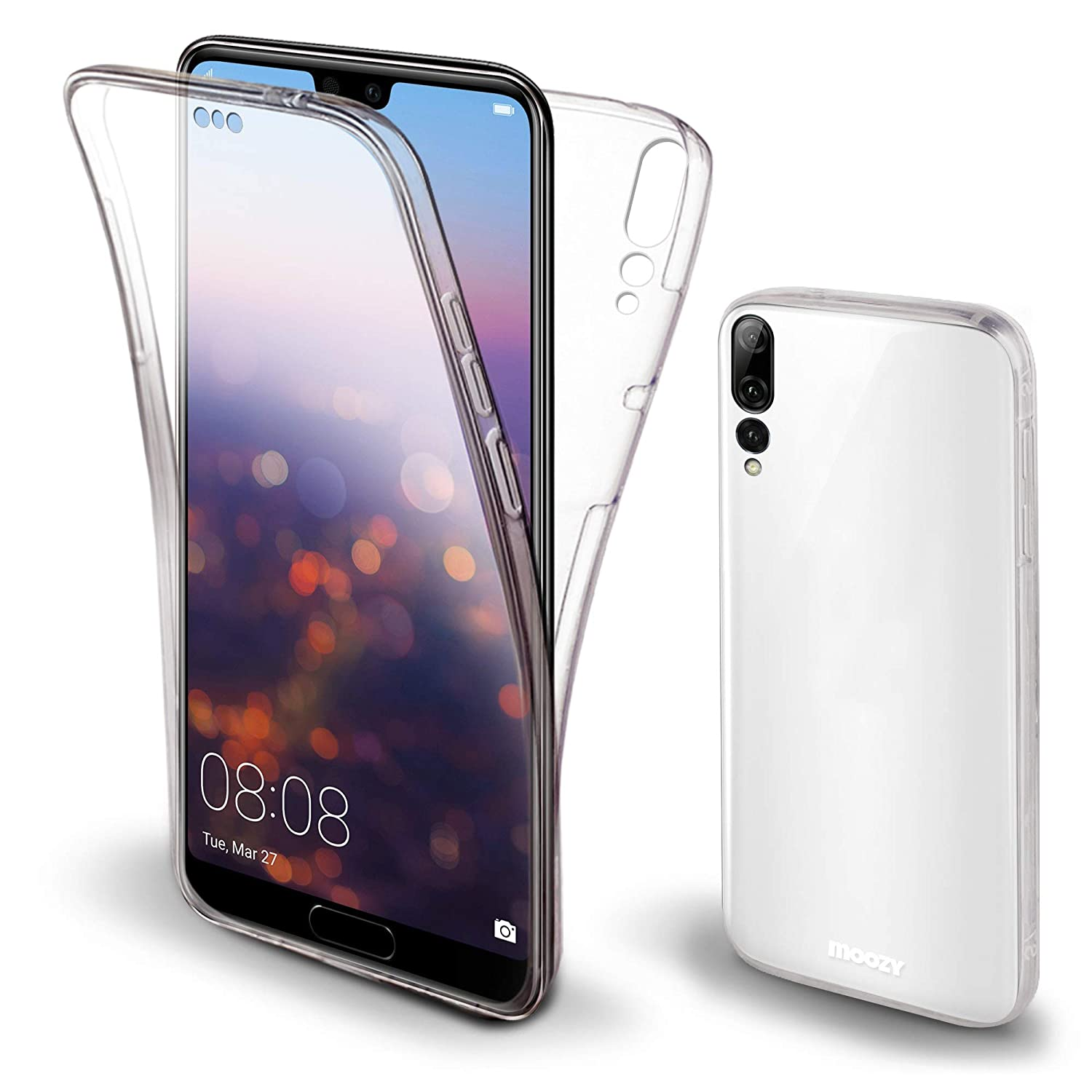 brand new 26f97 55df0 Moozy 360 Degree Case for Huawei P20 Pro - Full Body Front and Back Slim  Clear Transparent TPU Silicone Gel Cover