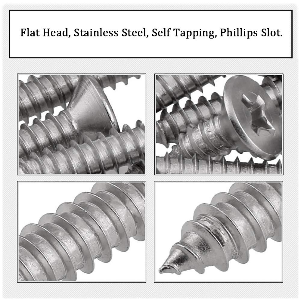 304 Stainless Steel Self Tapping Wood Drywall Screws 25Pcs 6 x 40mm Screw Phillips Slot Flat Head
